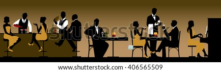 Silhouettes of a group of people holiday makers in a restaurant or bar Stock vector illustration - stock vector