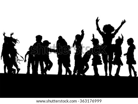 Silhouettes of a little girl and boy on a white background - stock vector