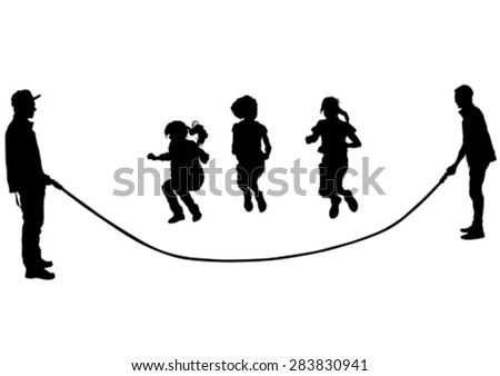 Silhouettes of a little girl in a dress on a white background - stock vector
