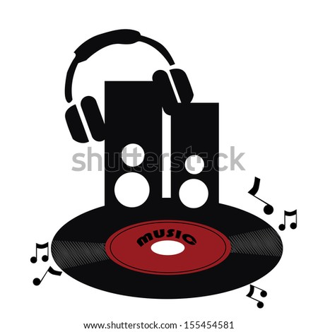 silhouettes of a red black vinyl with black speakers and headphone - stock vector