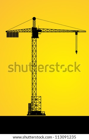 Silhouettes of a tower crane on building - stock vector