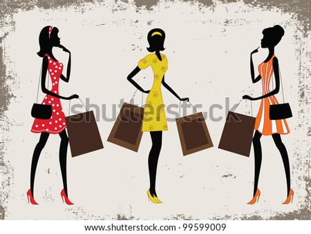 Silhouettes of a women shopping, vintage style - stock vector
