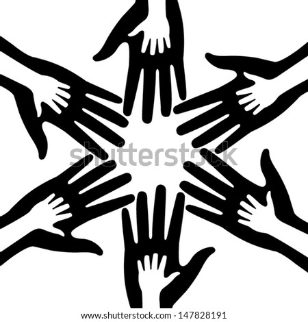 silhouettes of adult and children's hands  - stock vector