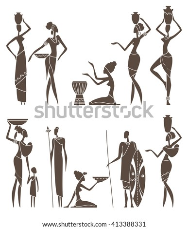 Silhouettes of African men and women in traditional clothing - stock vector