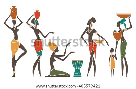 Silhouettes of African women in ethnic costumes - stock vector