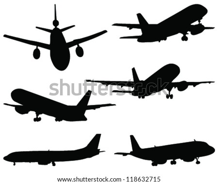 Silhouettes of aircraft 5- vector
