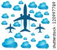 silhouettes of airplanes in the air with blue clouds - stock vector