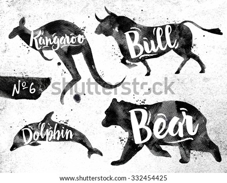 Silhouettes of animal dolphin, bear, bull, kangaroo drawing black paint on background of dirty paper - stock vector