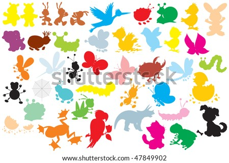 Silhouettes of animals: different insects, dogs, stork, hare, ducklings, chicks, dinosaur, frogs, parrot