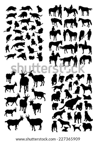 Silhouettes of animals living with people - stock vector