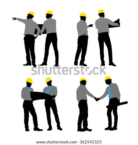 Silhouettes of Architect handshaking and meeting with white background - stock vector