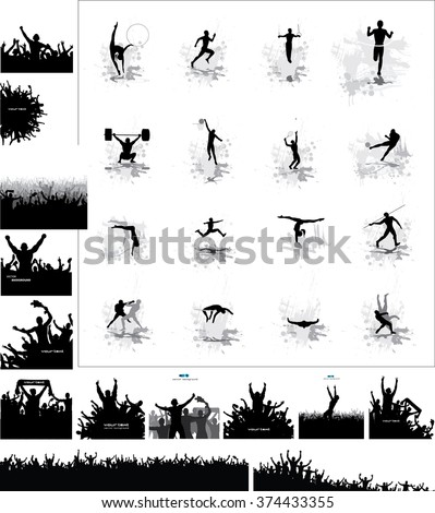 Silhouettes of athletes and posters of happy fans  - stock vector