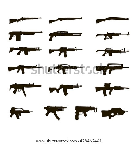 Silhouettes of automatic weapons - stock vector