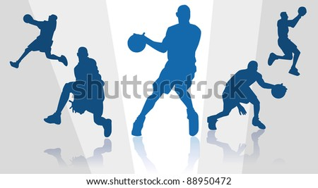 silhouettes of basket players - stock vector