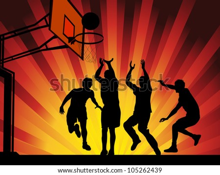 Silhouettes of basketball players on shining wave abstract background. EPS10 - stock vector
