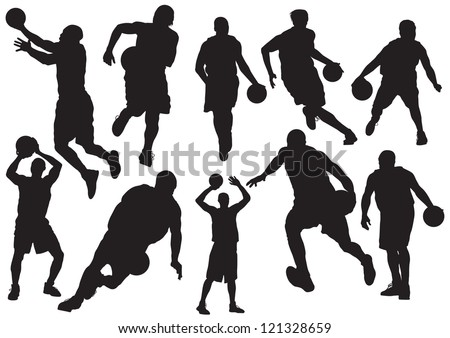 Silhouettes of Basketball Players Vector - stock vector