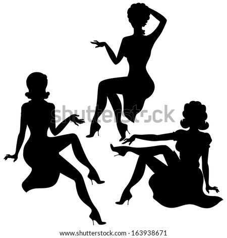 Silhouettes of beautiful pin up girls 1950s style. - stock vector