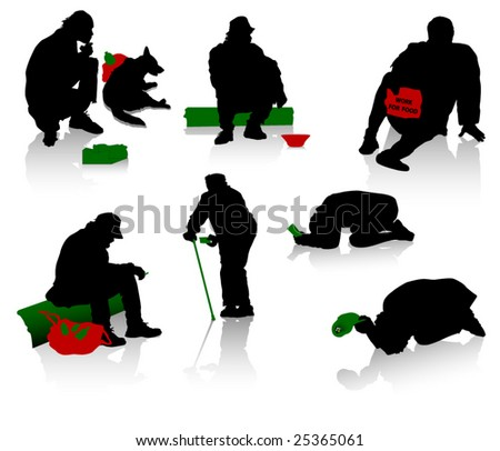 Silhouettes of beggars and homeless people - stock vector