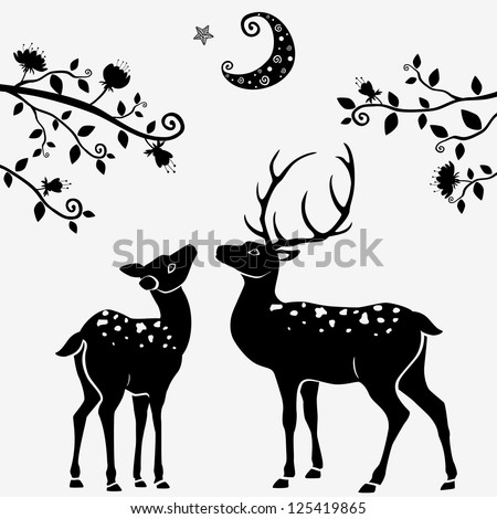 silhouettes of black and white illustration of two deer - stock vector