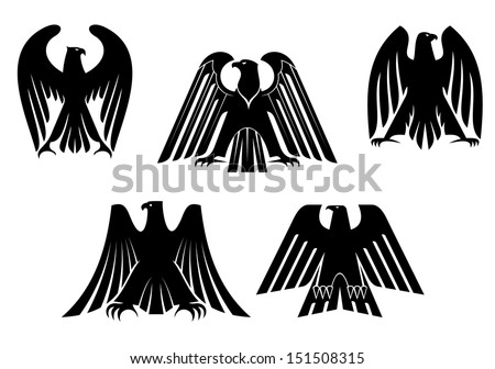 Silhouettes of black eagles for heraldry and tattoo design or idea of logo. Jpeg version also available in gallery - stock vector