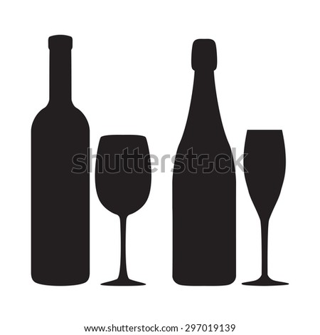 Silhouettes of bottles, glasses of wine and champagne. Vector icons. - stock vector
