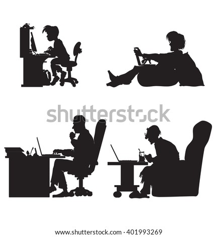 Silhouettes of boy, student, adult man, old man working on the computer - stock vector