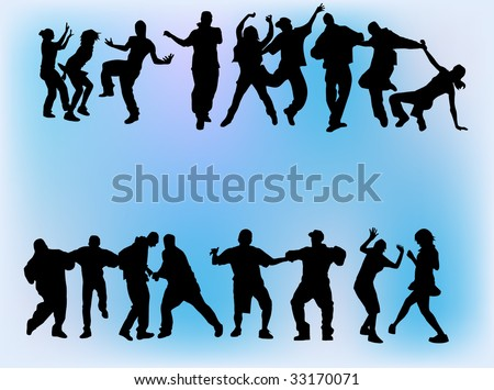 Silhouettes of boys and girls dancing on different hip hop style: Krump, Clowning, Break dance, Old school, C-Walk etc.