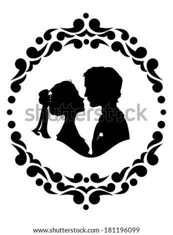 Silhouettes of bride and groom. Black against white background - stock vector