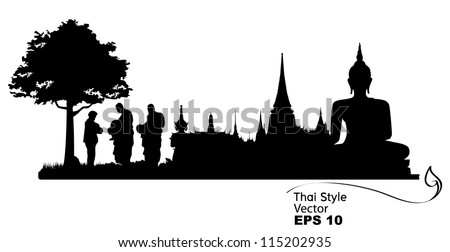 Silhouettes of buddhist monk and people praying