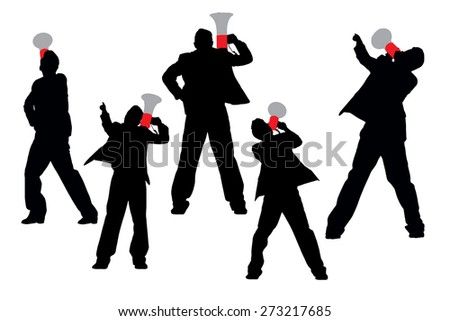 Silhouettes of Business men shouting by megaphone isolated on white background