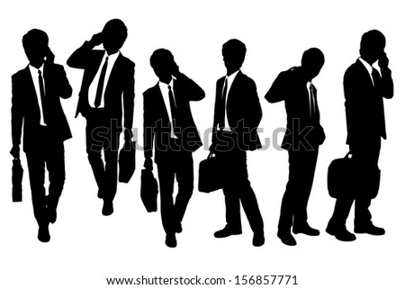 Silhouettes of Business men Walking and speaking mobile phone - stock vector