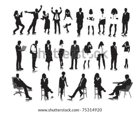Silhouettes of business people. - stock vector