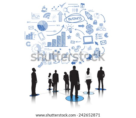 Silhouettes of Business People and Business Concepts Vector - stock vector