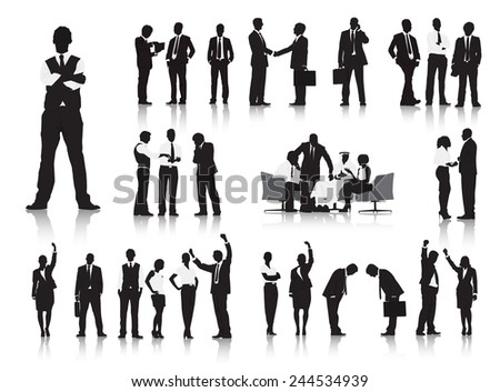 Silhouettes of Business People and CEO Working