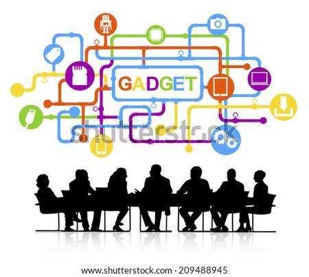 Silhouettes of Business People and Gadget Concepts - stock vector