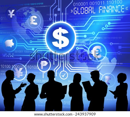 Silhouettes of Business People and Global Finance Concept - stock vector