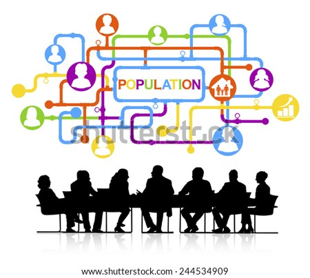 Silhouettes of Business People and Population Concept - stock vector