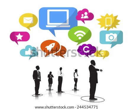 Silhouettes of Business People and Social Network Concepts - stock vector