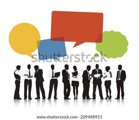 Silhouettes of Business People and Speech Bubbles - stock vector