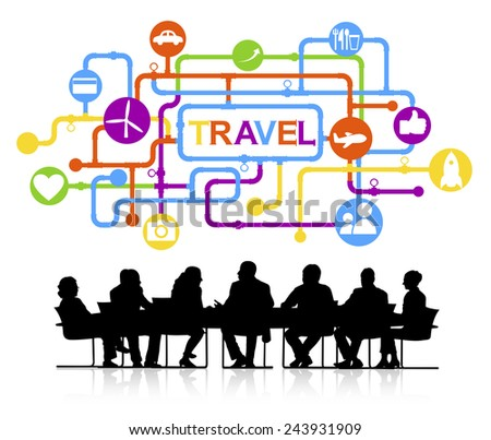 Silhouettes of Business People and Travel Concepts - stock vector