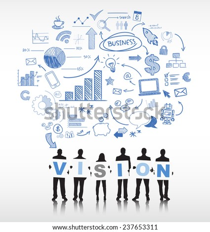 Silhouettes of Business People and Vision Concept - stock vector