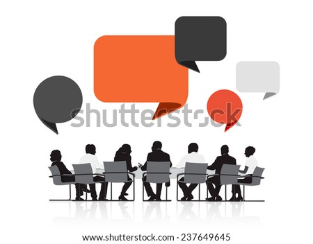 Silhouettes of Business People in a Meeting and Speech Bubbles - stock vector