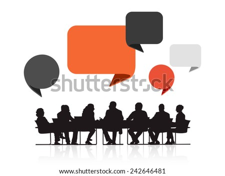 Silhouettes of Business People in a Meeting and Speech Bubbles Vector - stock vector