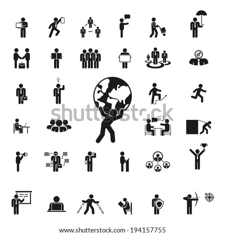 Silhouettes of business people. Management, work team and achieving success - stock vector