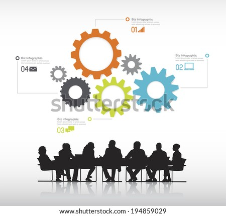 Silhouettes of Business People Meeting and Gear Symbols - stock vector