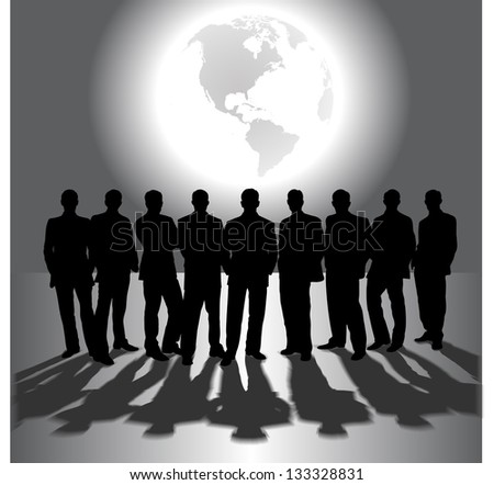 silhouettes of business people on the background of the planet - stock vector
