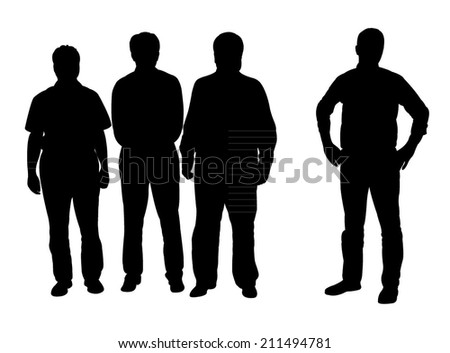 silhouettes of business people, standing in line  - stock vector