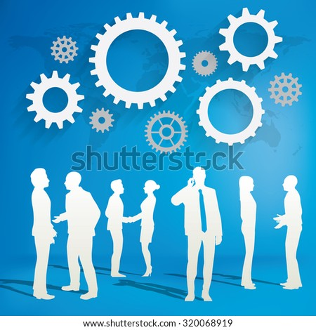 Silhouettes of Business People talking on the world blue  background with gear concept