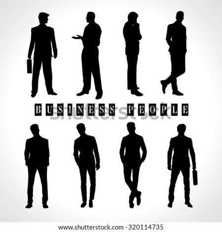 Silhouettes of Business People. Vector set of black illustrations