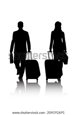 silhouettes of business people with baggage - stock vector